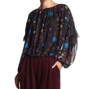 Free People Wild Flower Honey Blouse Size S